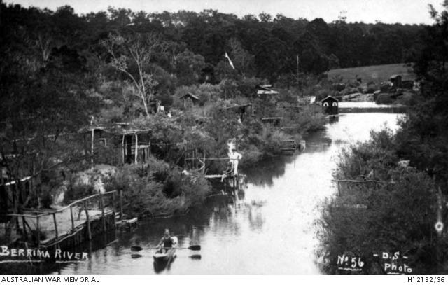German internees huts & jetties on the Berrima river 1916